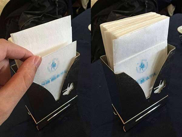 不整齐对折的纸巾